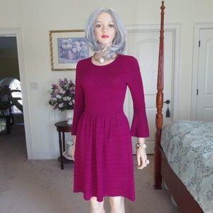 Vince Camuto Butgundy Fit & Flare Sweater Dress XS